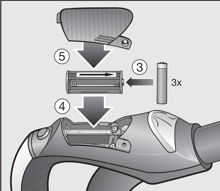 Inserting batteries into the LED handle illustration 1